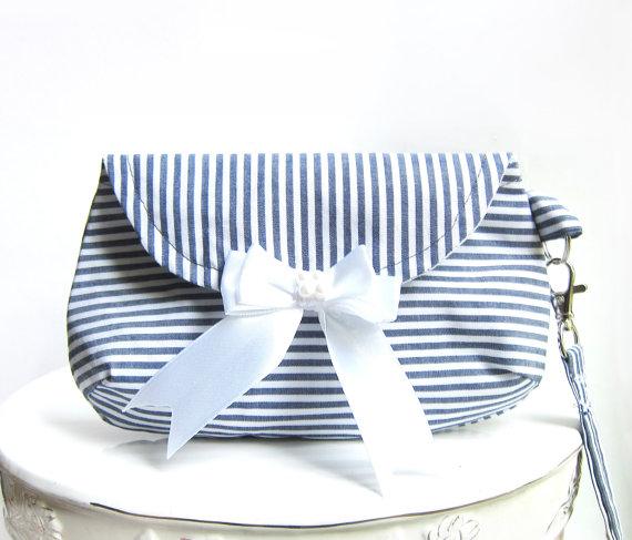 Wedding - Navy Off White and Gray Bridesmaid Clutch, Chevron and White Bow Beach weddings rustic Wrist Strap