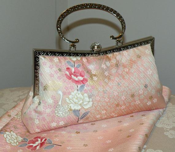Mariage - Peacock Clutch/Purse/Bag..Cherry Blossom..Chrysanthemum..Floral..Bridal Pink/Wedding..Bridesmaid Gift..Free Monogram..Silk Kimono.Rhinestone