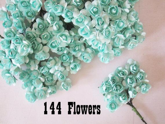 Hochzeit - Mint Paper Flowers - 144 pcs - Small Bouquet - weddings - favors - invitations - paper goods