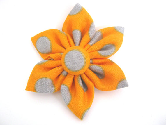 Mariage - Dog Collar Flower / Small Medium Large / Orange Removable Collar Flower