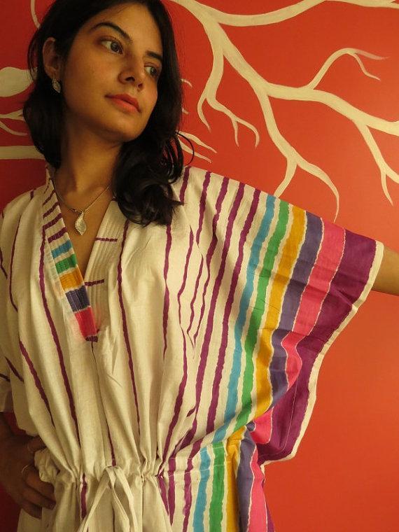 Mariage - White Lilac Striped Kaftan Pajamas to live in beachwear Caftan, spa robe..make great Anniversary or Birthday gifts, new mom Gift