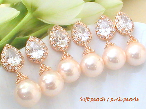 Bridesmaid Gift Wedding Jewelry Set Of 7 10 Off Rose Gold Drop