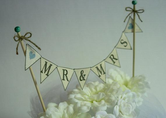 زفاف - Wedding Cake BANNER Wedding Cake Topper Mr and Mrs Rustic Wedding Topper