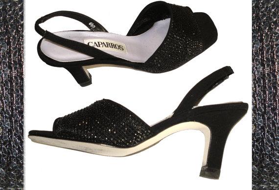 Mariage - Vintage Heels Size 6 & 1/2B Stiletto Pumps Caparros Black Mad Men Rockabilly Pinup Bombshell Garden Party Office Wedding Designer Dress