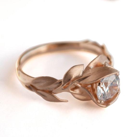 Hochzeit - Leaves Engagement Ring, 18K Rose Gold and Diamond engagement ring, engagement ring, leaf ring, filigree, antique,art nouveau,vintage