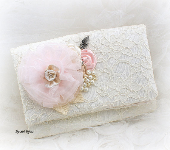 Mariage - Clutch, Bridal, Wedding, Handbag, Mother of the Bride, Champagne, Ivory, Blush, Champagne, Tan, Pearls, Lace, Vintage Wedding