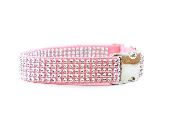 Свадьба - Pink and Silver Dog Collar - Rhinestone Bling Swarovski-like Adjustable Metal Buckle Wedding and Special Occasion Girl Dog Collar