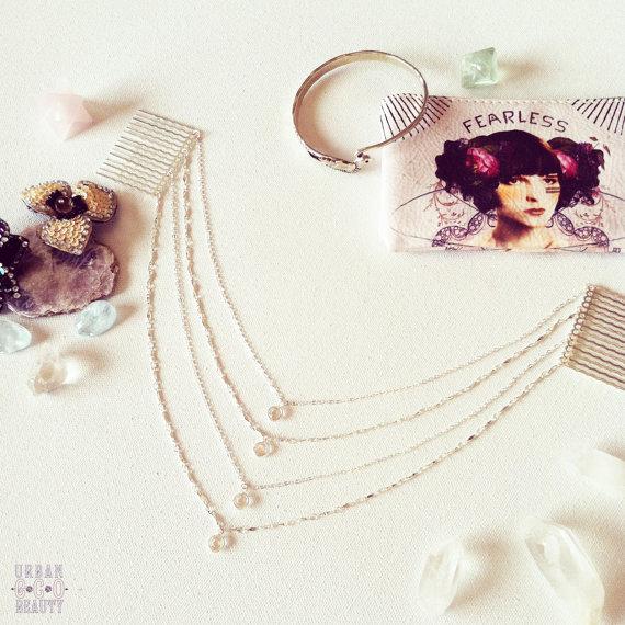 Mariage - Bohemian Crystal Silver or Gold Chain Hairpiece, Layered Hair Chain Accessory, Hair Jewelry, Hairpiece, Wedding, Celebrity, Kim Kardashian