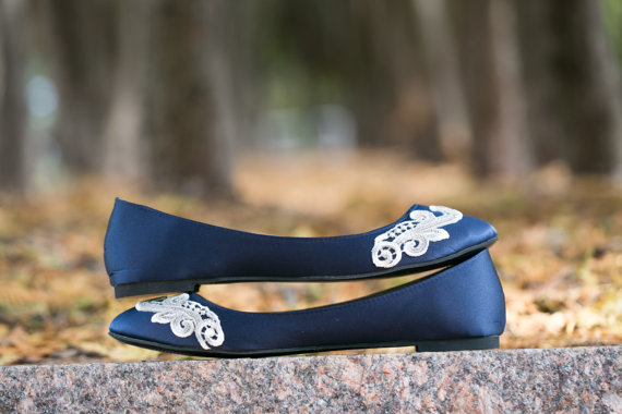 Mariage - Wedding Flats - Navy Blue Wedding Flats/Bridal Shoes, Navy Flats, Navy Satin Flats with Ivory Lace. US Size 9