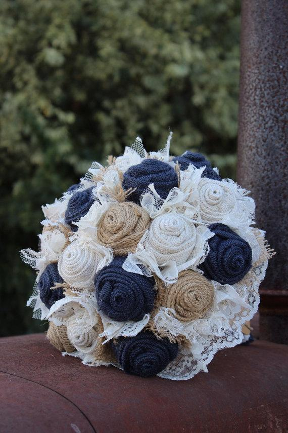 Mariage - Navy Burlap and Lace Bridal Bouquet / rustic wedding bride's bouquet / rustic romance / burlap bouquet