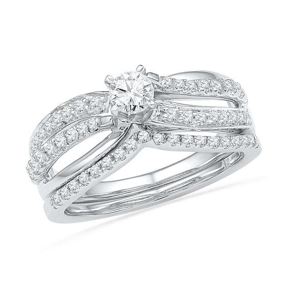 Wedding - Diamond Bridal Set Rings, 1/2 CT. TW. Open Style Engagement Ring