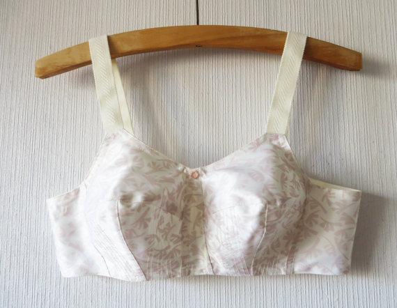 Mariage - Vintage 60s Satin Bullet Bra White Taupe Bustier Beige Corset Bombshell Antique Lingerie Underwear Medium to Large Size