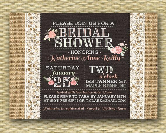 Wedding - Burlap Lace Bridal Shower Invitation Rustic Bridal Brunch Pink Coral Floral Bridal Tea Typography Style Baby Shower, Any Event, Any Colors
