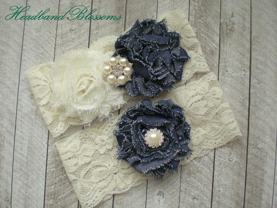 Hochzeit - Beautiful DENIM Bridal Garter Set - Ivory Keepsake & Toss Wedding Garters - Frayed Flower Rhinestone Garters - White Or Ivory - Blue Jean