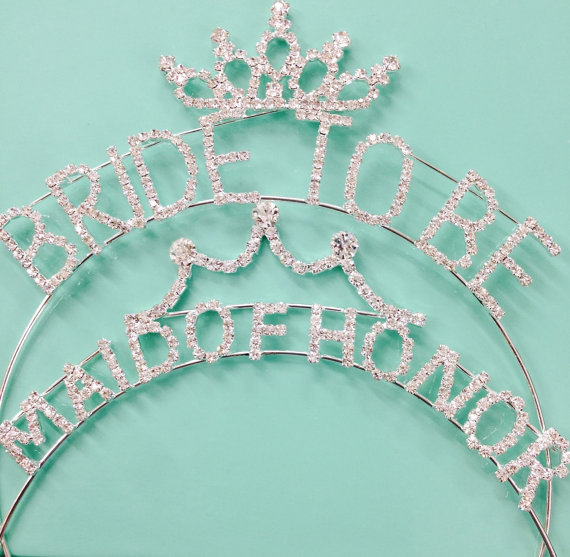 """Mariage - Bachelorette Party Silver/Gold Tone Metal Rhinestone """"Bride to Be"""" """"maid of honor """" Wedding Headband Bridal Accessories"""