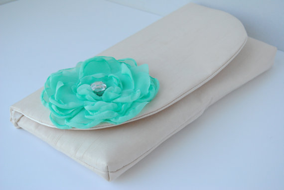 Mariage - Champagne and Mint Green Silk Wedding Clutch, Bridesmaids Clutch, Mint Green Clutch, Bridal Clutch