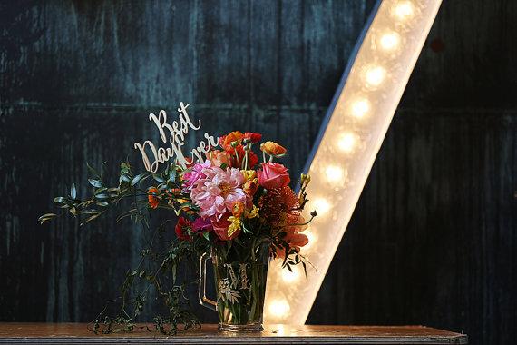 """زفاف - Best Day Ever Cake Topper - (ONE) 6"""" Laser Cut Wood Wedding Cake Topper - Floral Bouquet Topper - Photo Prop - Gold or Silver - 1/4"""""""