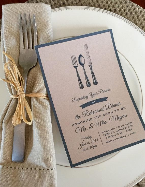 زفاف - Rehearsal Dinner Invitation Shabby Chic, Farm House Style - Printable File - Customizable - Digital Kraft Paper