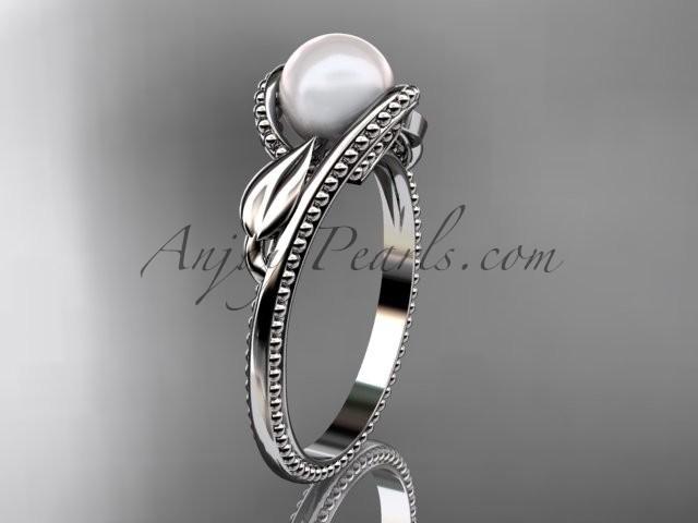 Wedding - Unique platinum diamond floral pearl engagement ring AP301