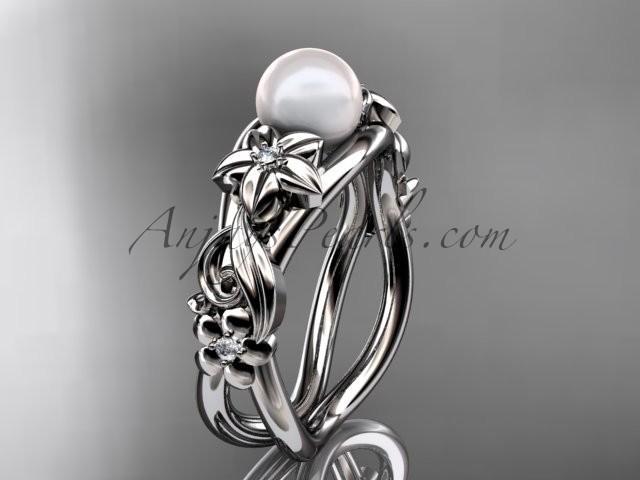 Wedding - Unique platinum diamond floral pearl engagement ring AP302