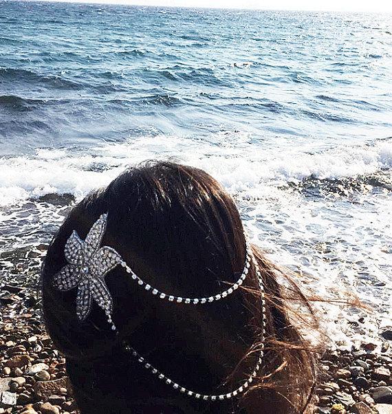 Wedding - Wedding Hair Accessory, Bridal Headbands, Gold Hair Clip, Rhinestone Headband, Wedding Hair Clip, Wedding Hair Vine, Flower head clip