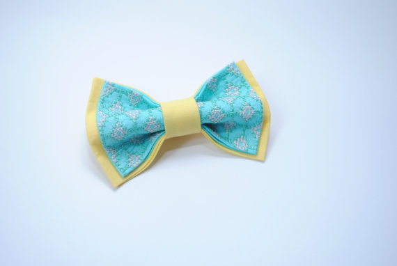 Hochzeit - Bowtie, Bow tie for men,Embroidered bowtie,Spa yellow colour,Wedding in yellow blue,Groom,Groomsmen,Noeud papillon homme,Pretied bow ties