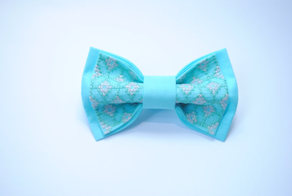 Wedding - Bow tie, Men's bowtie, with embroidery,Spa colour,Wedding in spa,Groom,Groomsmen,Bowtie wedding blue,Noeud papillon homme,Pretied bow ties
