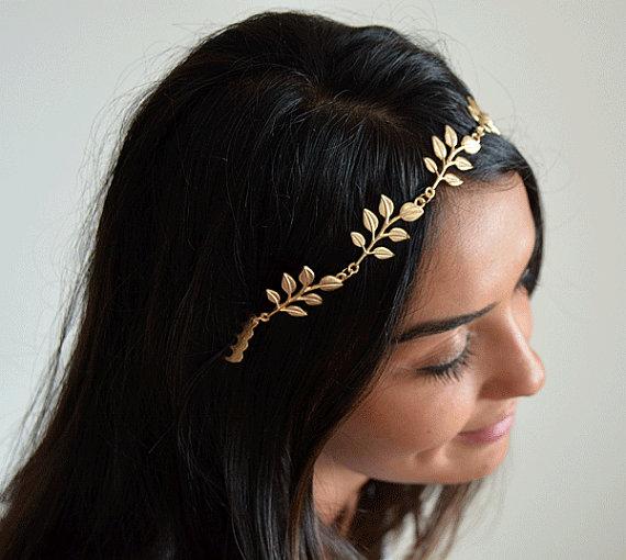 Mariage - bridal Hair accessories , Brides Headpieces , Gold Leafs Hair Wreath , gold Leaf Crown , Wedding Headband , bridal accessories