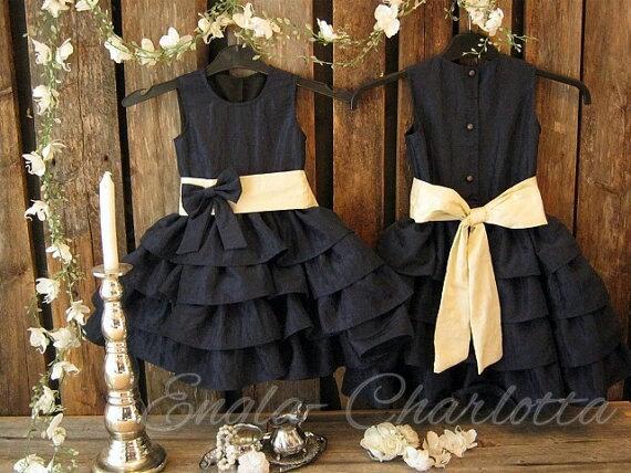 Navy Blue Flower Girl Dress Toddler Girls Special Occasion Dress