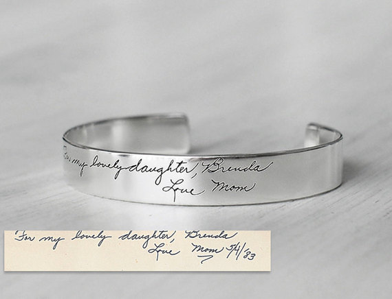 Свадьба - 20% OFF* - Actual Handwriting Cuff Bracelet For Her - Personalized Signature Bracelet - Wedding Jewelry - Bridesmaid Gift - PB07