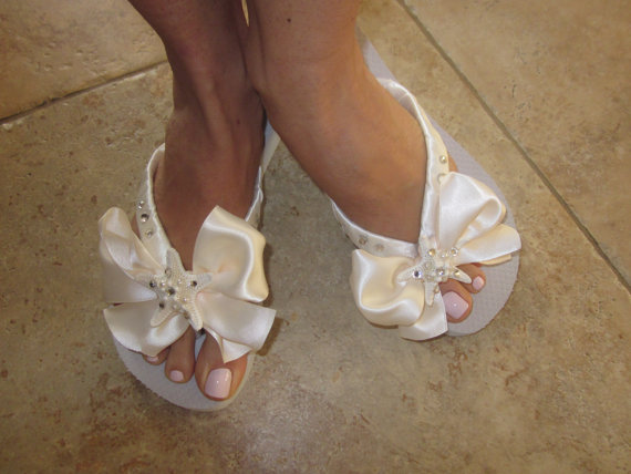 Flip Flops Wedges For Bride Beach Wedding Starfish Wedding Shoes Flip Flops With BOWBeach