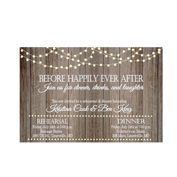 Wedding - Vintage Lights on Rustic Wood Before Happily Ever After Rehearsal Dinner Invitation Wedding-Digital File ONLY
