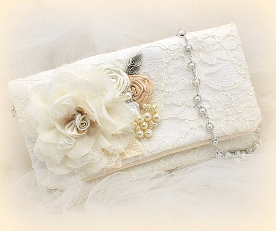 Wedding - Clutch, Bridal, Wedding, Handbag, Bag, Strap, Ivory, White, Tan, Beige, Champagne, Lace, Pearls, Crystals, Lace, Vintage Wedding