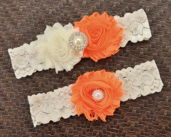 Свадьба - Wedding Garter, Bridal Garter Set, Orange Wedding Garter, Orange Bridal Garter, Ivory Lace Garter, Ivory Wedding Garter Belt, Orange Garter