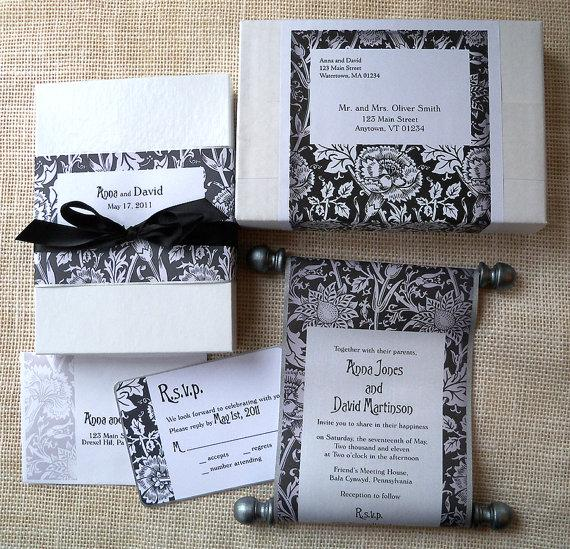 Mariage - Elegant Wedding Invitation Suite in Classic Black and White, unique handmade fabric scroll with metallic pewter and silver accents {25}