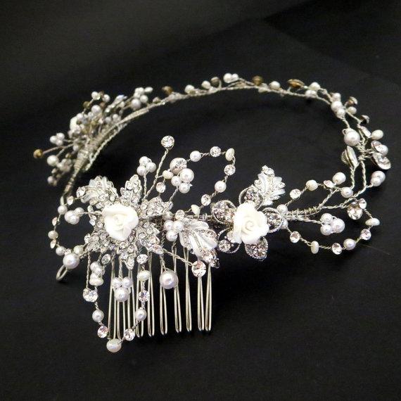 Wedding - Bridal hair vine, Bridal headpiece, Wedding headpiece, Bridal headband, Pearl headpiece, Silver headpiece, Wedding hair accessory