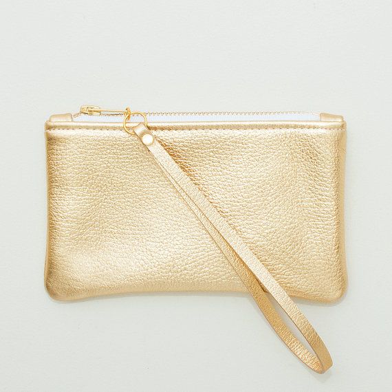 Свадьба - Small Metallic Gold Leather Zipper Wristlet, Zipper Pouch, Cell Phone Pouch, Evening Clutch, Wedding Clutch