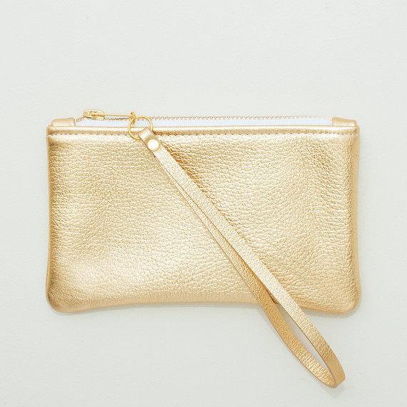 Mariage - Small Metallic Gold Leather Zipper Wristlet, Zipper Pouch, Cell Phone Pouch, Evening Clutch, Wedding Clutch