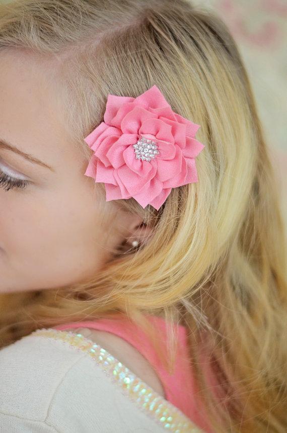 زفاف - Watermelon Pink Flower Hair Clip, Flower Girl Hair Clip, Watermelon Star Flower Clip, Flower Clip, Girls Flower Hair Clip, Wedding Hair Clip