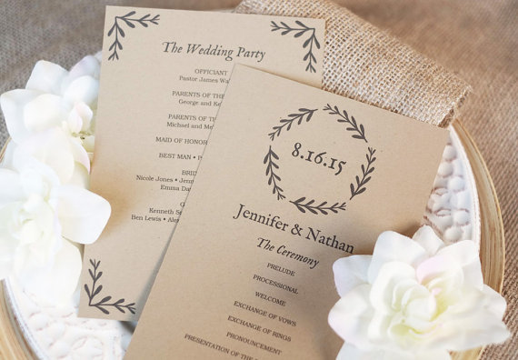 زفاف - Printable Wedding Program Template - Instant DOWNLOAD - EDITABLE Text - Woodland Wreath, 5 x 7, PDF