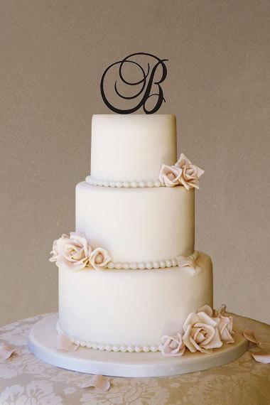 Custom Wedding Cake Topper Monogram Initial Personalized