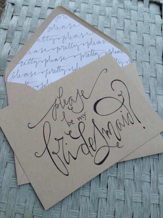 Wedding - Bridesmaid Card Calligraphy Kraft