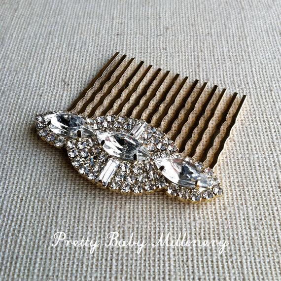 Mariage - gold hair comb, gold bridal comb, hair accessories, Gold Comb, gold rhinestone wedding headpiece clip comb