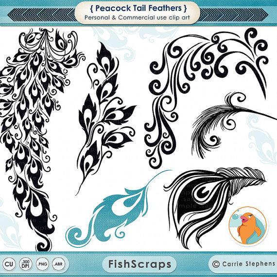Wedding - Peacock Tail Feather Clip Art, Decorative Design for Vinyl, Digital Album Graphic, DIY Chic Wedding Invitations, Peacock ClipArt