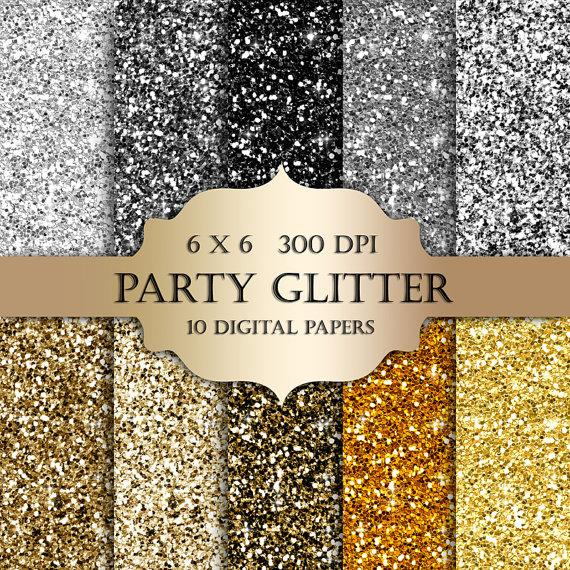 Wedding - Silver & Gold glitter digital paper - Glitter gold,silver, Scrapbooking Digital Paper, black glitter backgrounds, sparkle for invitations