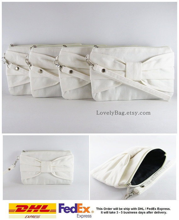 Mariage - SUPER SALE - Set of 6 Ivory Bow Clutches - Bridal Clutch, Bridesmaid Wristlet, Wedding Gift, Cosmetic Bag, Zipper Pouch - Made To Order