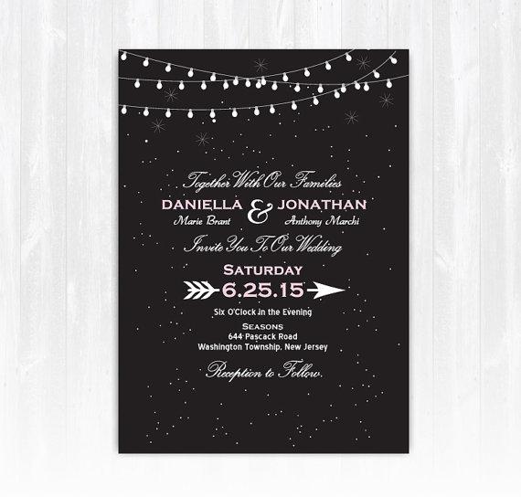 Wedding - Stars and String Lights Wedding Invitation DIY PRINTABLE Digital File or Print (extra) Stars Wedding Invitation String Light Wedding