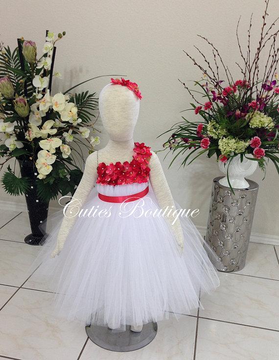 Mariage - White Dress With Coral Hydrangea Flower Dress Wedding Dress Birthday Picture Prop Yellow Flower Girl Dress