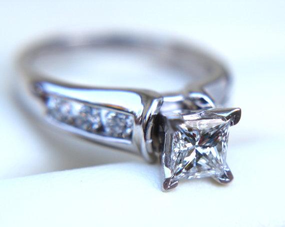 Mariage - Certified - Diamond Engagement Ring - Princess Cut 14k white gold - 7 stone - 1.50 carat - weddings - Channel set - custom made