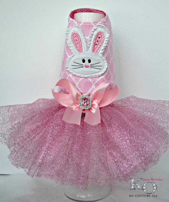 زفاف - Dog Dress, Easter Bunny Tutu Harness Dress